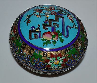 Antique Chinese Cloisonne Champleve Box Scholar's Objects Scrolling Vines