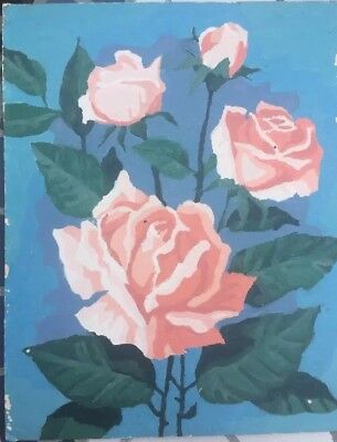 Vintage Paint By Number Roses Shabby