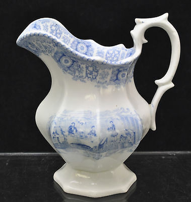 Rare Edwards Gentlemens Cabin Blue Staffordshire Milk Jug 1840
