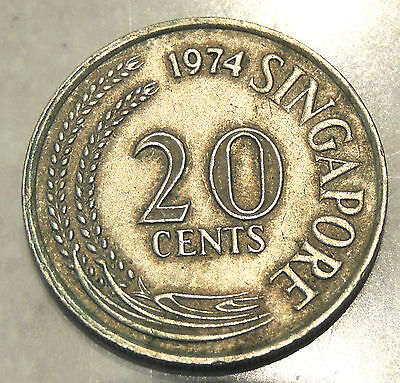 Singapore - Twenty Cent Coin - 1974 - Reasonable Cond For Age
