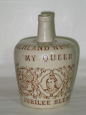 My Queen Jubilee 1837-1887, Highland Whisky (Whiskey) Stoneware Flagon Jug
