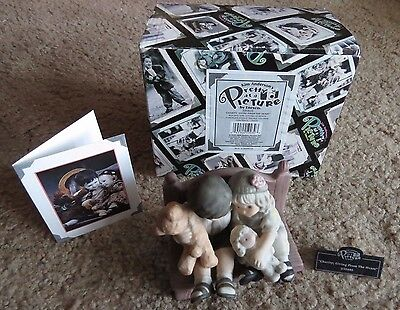 NIB Kim Anderson's Pretty As A Picture Boy & Girl on Bench w bear, lamb figurine