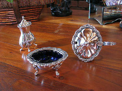 Old Sheffield Silver Trinket,Cobalt blue glass & Silver Pepper shaker