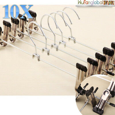 10/30X Metal Coat Trousers Pant Adjustable Hanger Clothes Skirt Clip Coathanger