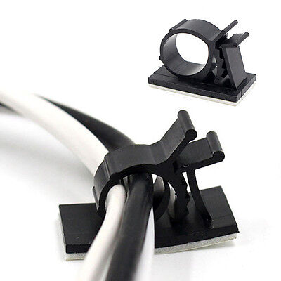 10PCS Adjustable Cable Clip Adhesive Cord Management Wire Holder Organizer Clamp