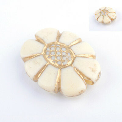 Oval Large Acrylic Plastic Vintage Antique Style Beige Cream with Gold Beads B4