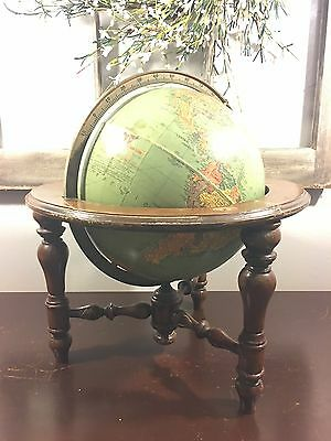 1950 Vintage 10 Inch World Globe by Replogle Full Mount Globes Inc of Chicago