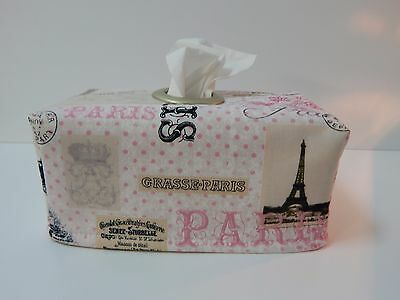 Paris in Pink Tissue Box Cover With Circle Opening - Lovely Gift