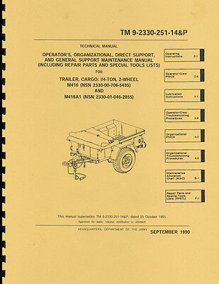 TM 9-2330-251-14&P ~ Maint & Parts List Manual ~ M416 Jeep Trailer ~ Reprnt