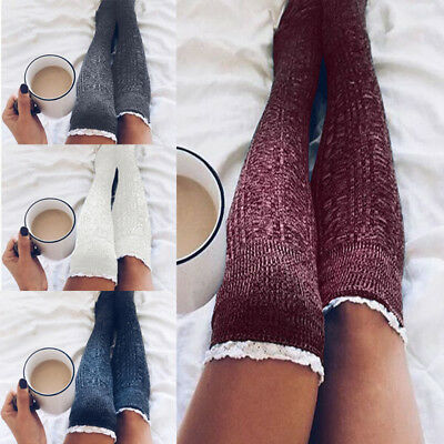 Women Winter Warm Cable Knitted Long Boot Socks Over Knee Thigh High Stockings