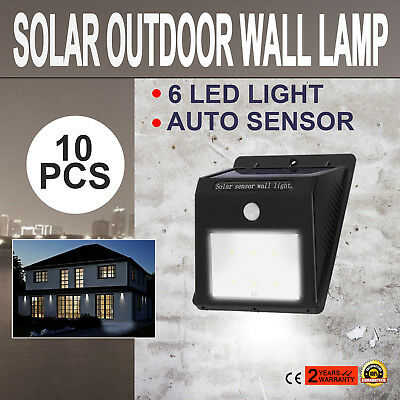 10Pcs 6LED Solar Power Sensor Wall Light Eco-Friend Garden Lamp Motion Sensor
