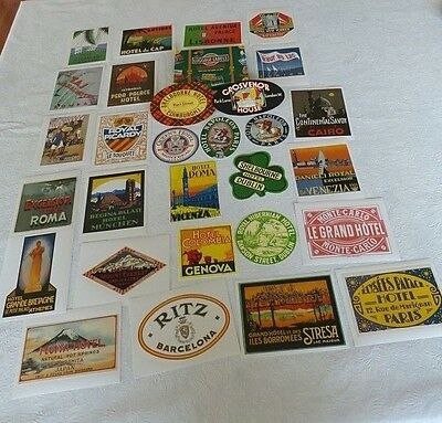 Lot of 29 Luggage Labels Tags Advertising Hotels