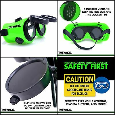 Welding Goggles FLIP UP Industrial Grade PVC Brazing Dark & Clear Safety Lenses