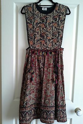 VINTAGE Indian Ethnic DRESS Pinafore Quilted Block Print Fabric Full Skirt 10 S