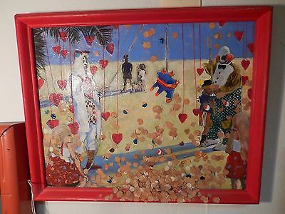 Unusual Original Mixed Media Painting By David Moore Valentine's Day Picnic