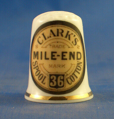Fine Porcelain China Thimble -  Clarks Mile End Thread -- Free Gift Box