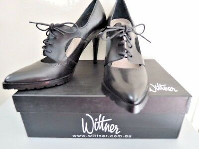 Wittner Black Calf Leather Shoes Heels Lace Up Rubber Tread Sz 9 $149 Brand New