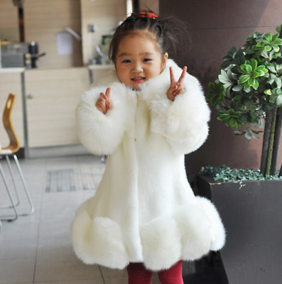 Chic Baby Kids Girls Faux Fur Furry Warm Jacket Parka Trench Coat Multi-Color yh