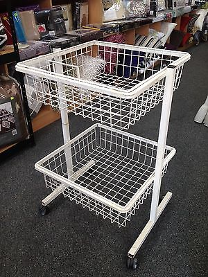 White DUMP BIN Casters Mesh Wire 2-tier basket detachable displays Shop Fitting