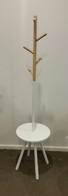 Scandinavian Style Hat Coat Bag Rack Hall Stand - Oak & White Wood from Freedom
