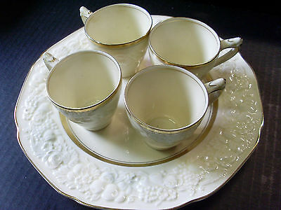 CROWN DUCAL 'FLORENTINE' England CREAM & GOLD ENTREE PLATE & 4 COFFEE CUPS