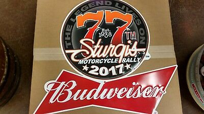 NEW! Sturgis BUDWEISER 2017 Motorcycle Rally Tin Metal Sign 77th Anniversary.