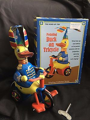 Peddling Duck On Tricycle - Tin Wind Up Toy - Schylling Collector Series