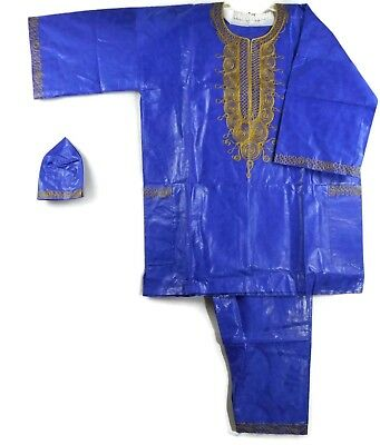 Traditional Brocade Pant Set African Men Dashiki Boho Suit Plus Siz D Blue Gold