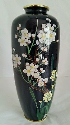 A Japanese Cloisonné vase . Decorated with blossoming Lotus . Meiji Period c1890