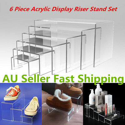 NEW 6pcs Jewellery Display Riser Stand Set Acrylic Perspex CLEAR 4.5 mm Thicknes