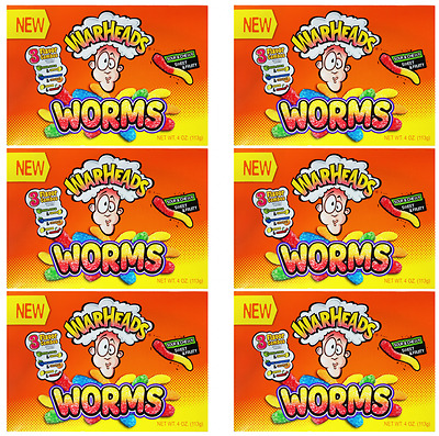 908717 6 x 113g BOXES OF WARHEADS NEW WORMS SOUR & CHEWY SWEET & FRUITY! USA