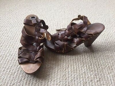 Leather brown sandals, thick/high heel, size 5/38