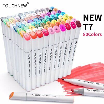 80 Colour Markers Pen Twin Tip Touch New Graphic Art Sketch Broad Fine Free Gift