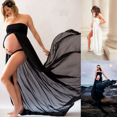 NEW Maternity Pregnant Photography Props Wedding Party Maternity Maxi Gown Dress