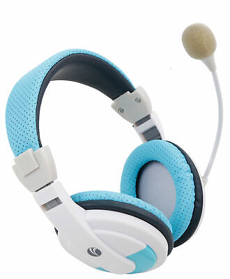 Padded Blue Headset / OverEar Headphones W/ Microphone For Apple Macbook Air