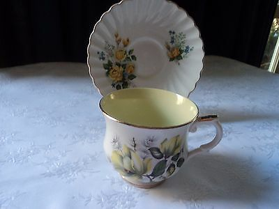 Vintage 'Old Foley' cup and saucer - yellow floral - Circa 1960's