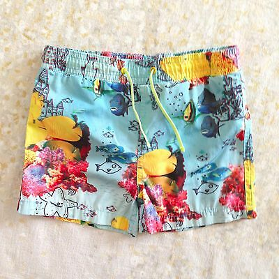 Pls Read Stella McCartney Kids Boys' Sz 3 Swim Trunks Shorts Blue Yellow Fish