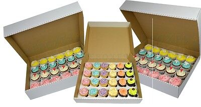 White Corrugated Fairy Cupcake 24 Hole Muffin Box 6cm Insert Tray