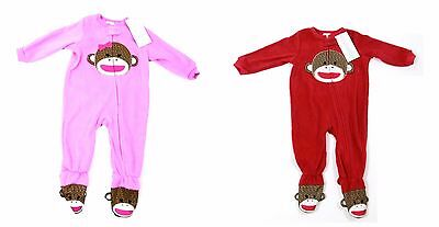Monkey Baby Boys Girls Pink Red Sleepsuit All In One Suit 12 - 24 Months
