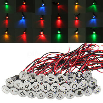 Pre-wried Symbol 12V 8mm LED Dash Panel Warning Pilot Light Indicator Boat Car
