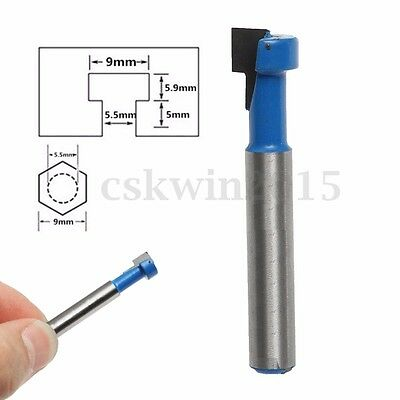 1/4'' Shank T-Slot Cutter End Mill Router Bit For 9MM Hex Bolt Woodworking Tools