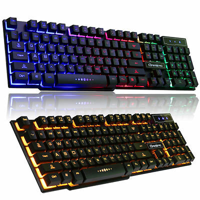 V8 Wired Rainbow / Yellow LED Backlit illuminated Usb Ergonomic Gaming Keyboard
