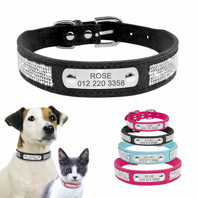 Bling Rhinestone Personalised Dog Collars Engraved Pet Puppy Cat ID Tag XS S M L