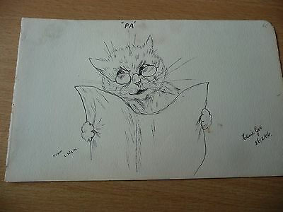 Antique original pen & ink drawing Edwardian cartoon Cat after Louis Wain 1906