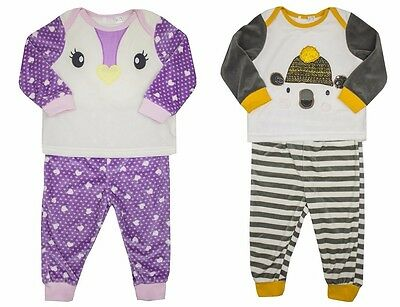 Bear Penguin Baby Boys Girls Fleece Winter Pyjamas Set 9 Months - 3 Years