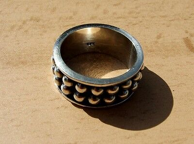 Vintage sterling silver man's studded band ring, size Z, 12mm wide