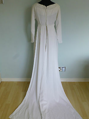 Original Vintage 60s Wedding Dress UK 8/10 with Split Train White Floral Small