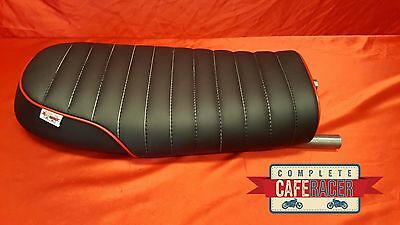 (Bs23) Brat / Scrambler Style Cafe Racer Seat Black Leatherette With Seat Hoop