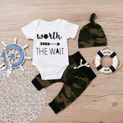 3PCS Newborn Infant Baby Boys Girls Clothes Tops Romper+Pants+Hat Outfits Set