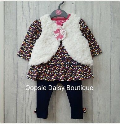 Baby Girls Lovely Navy Blue 3 Piece Oufit - Supersoft Waistcoat ☆